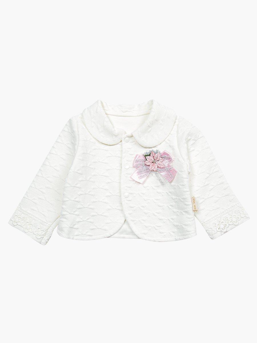 Комплект для девочки: лонгслив, штанишки и жакет, цвет: молочный