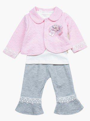 Комплект для девочки: лонгслив, штанишки и жакет