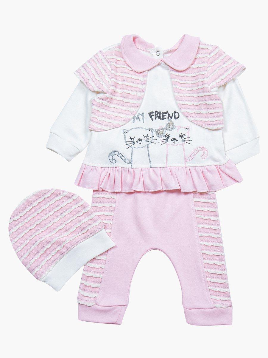 Комплект для девочки: туника, штанишки и шапочка, цвет: светло-розовый