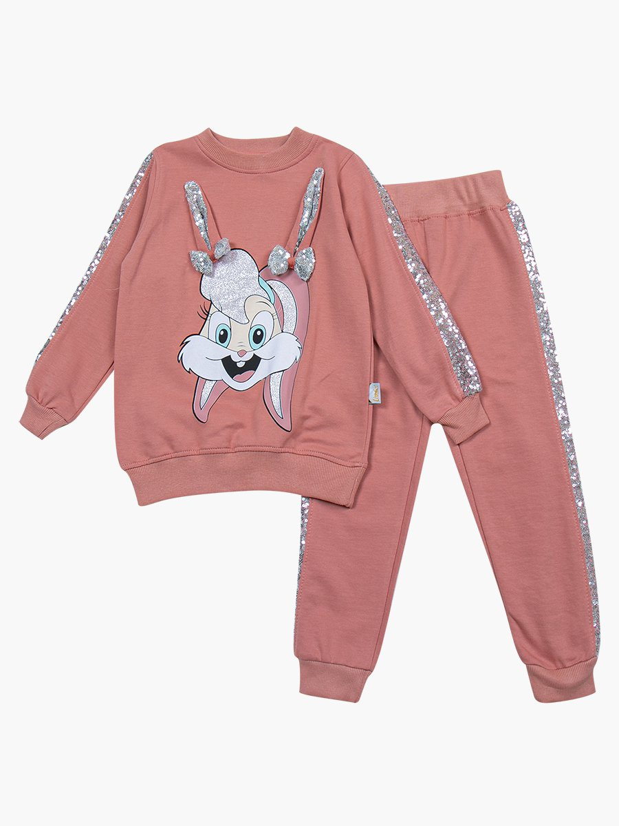Комплект для девочки: свитшот и штанишки, цвет: персиковый