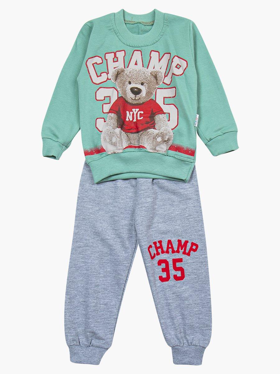 Комплект для мальчика: свитшот и штанишки, цвет: мятный