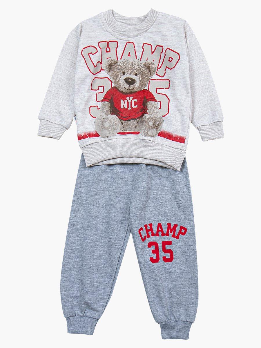 Комплект для мальчика: свитшот и штанишки, цвет: светло-серый