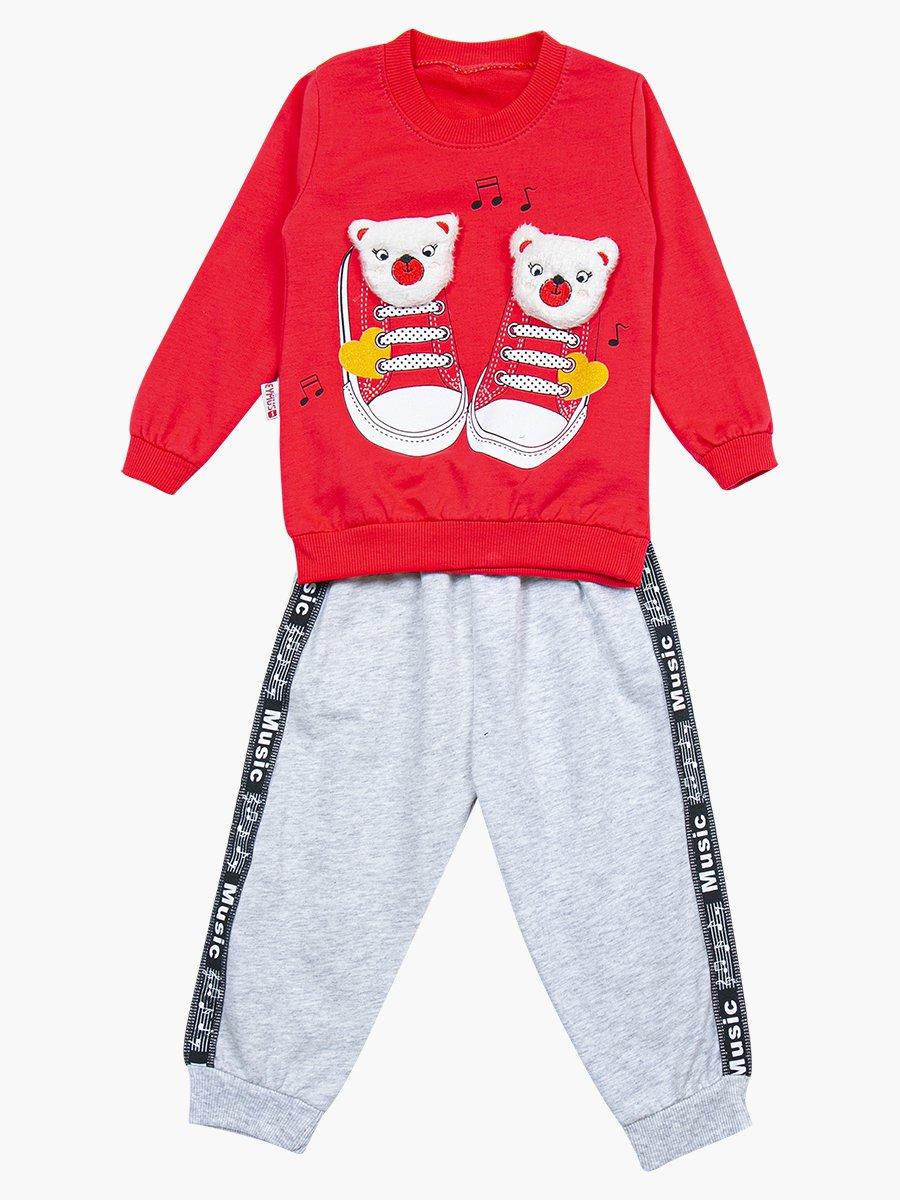 Комплект для девочки: свитшот и штанишки, цвет: коралловый
