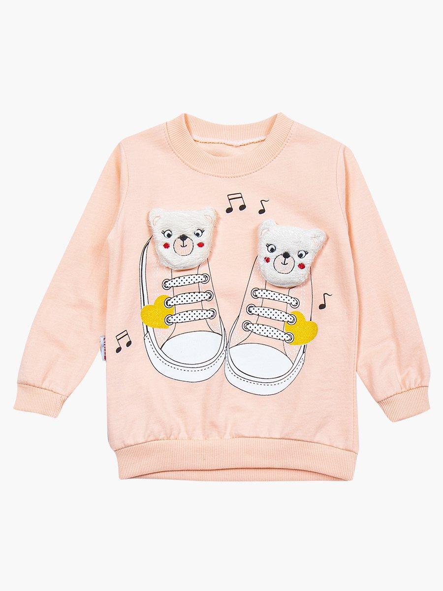 Комплект для девочки: свитшот и штанишки, цвет: пудра