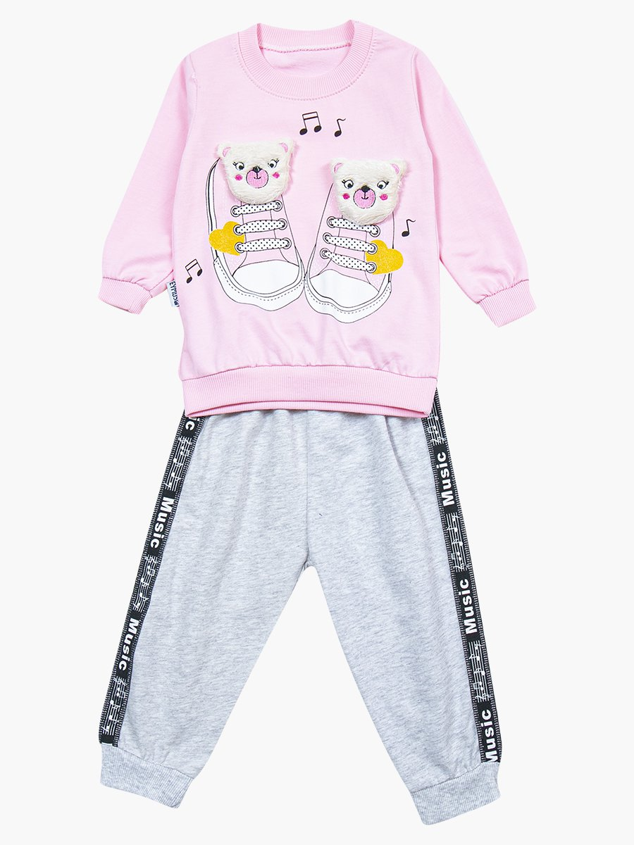 Комплект для девочки: свитшот и штанишки, цвет: светло-розовый