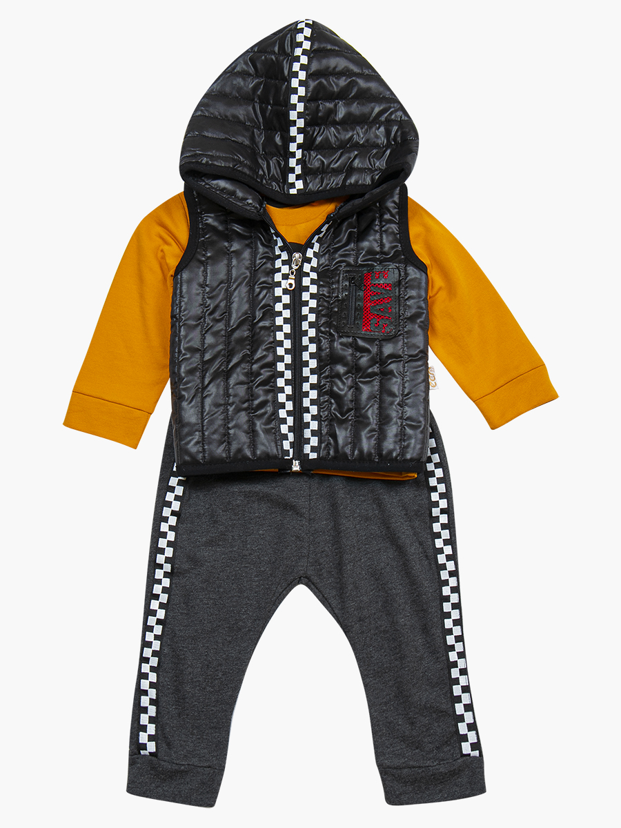 Комплект для мальчика: лонгслив, штанишки и болоньевый жилет на синтепоне, цвет: черный