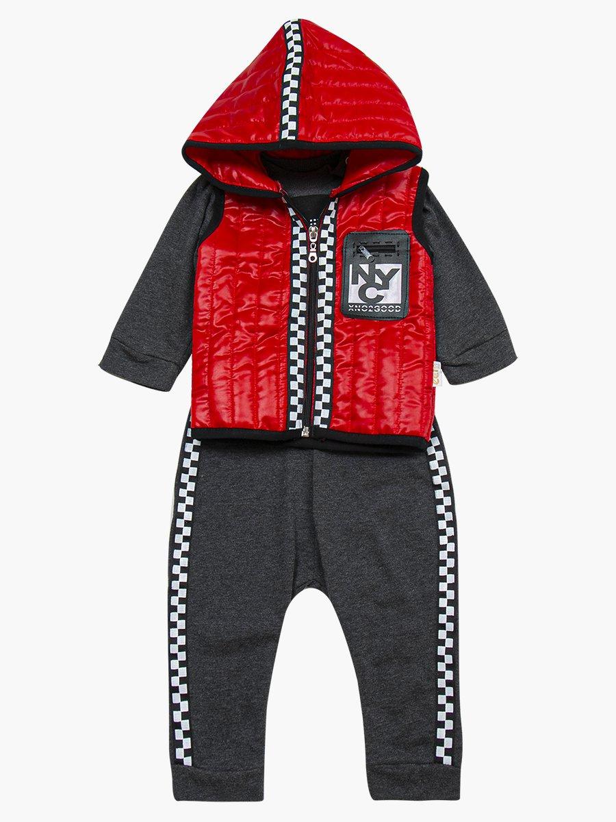 Комплект для мальчика: лонгслив, штанишки и болоньевый жилет на синтепоне, цвет: красный