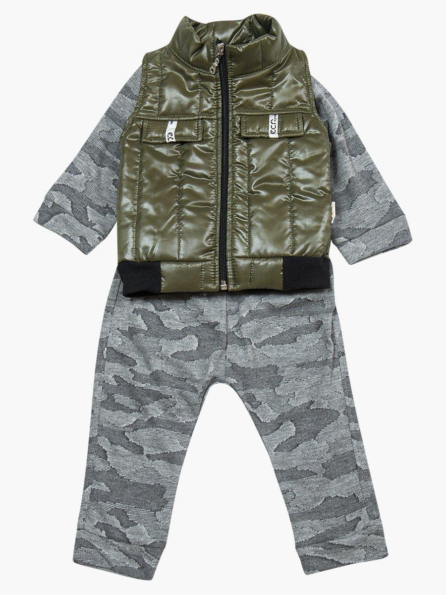Комплект для мальчика: лонгслив, штанишки и болоньевый жилет на синтепоне, цвет: хаки