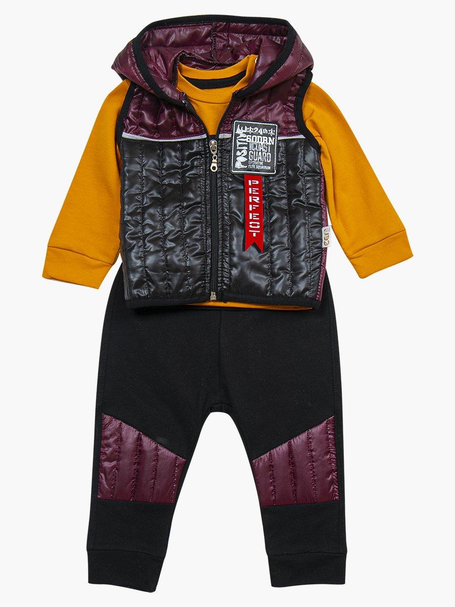 Комплект для мальчика: лонгслив, штанишки и болоньевый жилет на синтепоне, цвет: лиловый