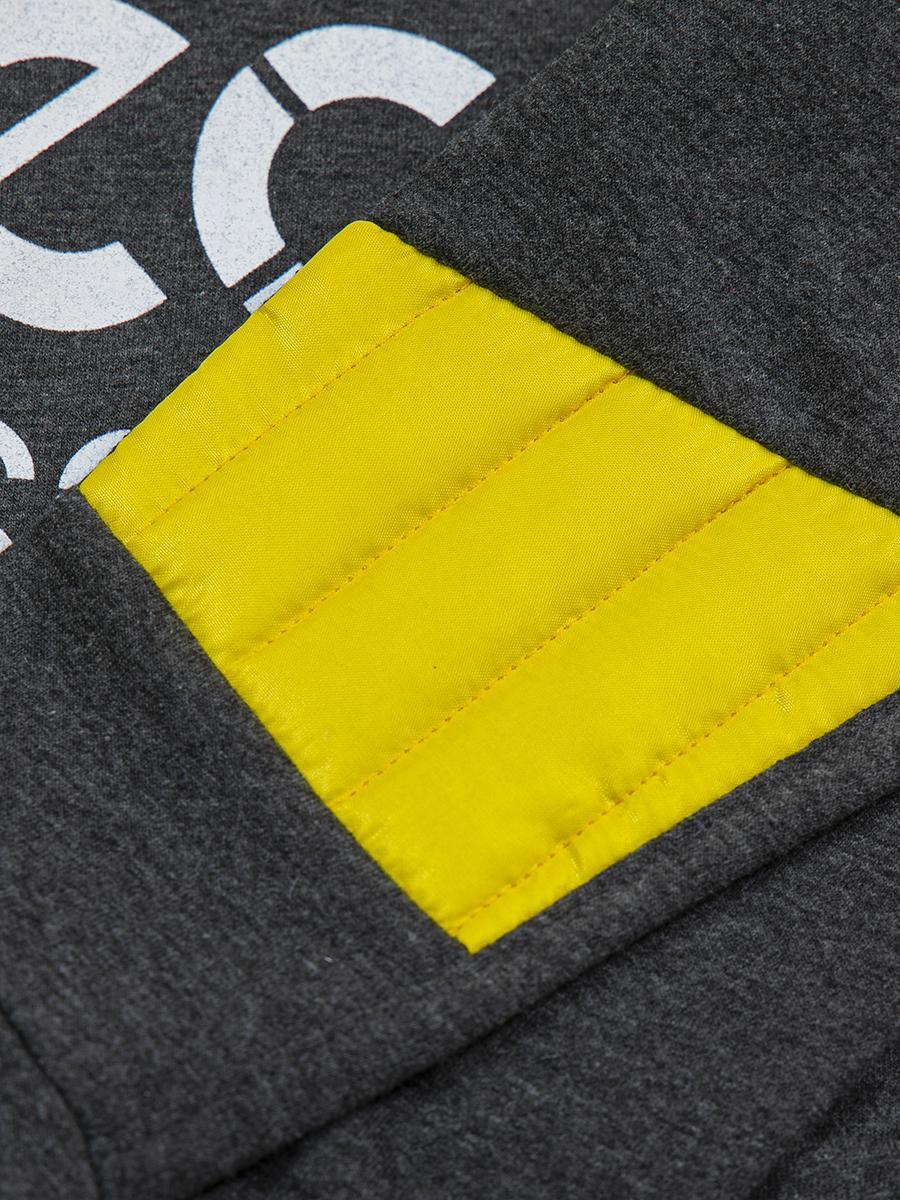 Комплект для мальчика: лонгслив, штанишки и болоньевый жилет на синтепоне, цвет: лимонный