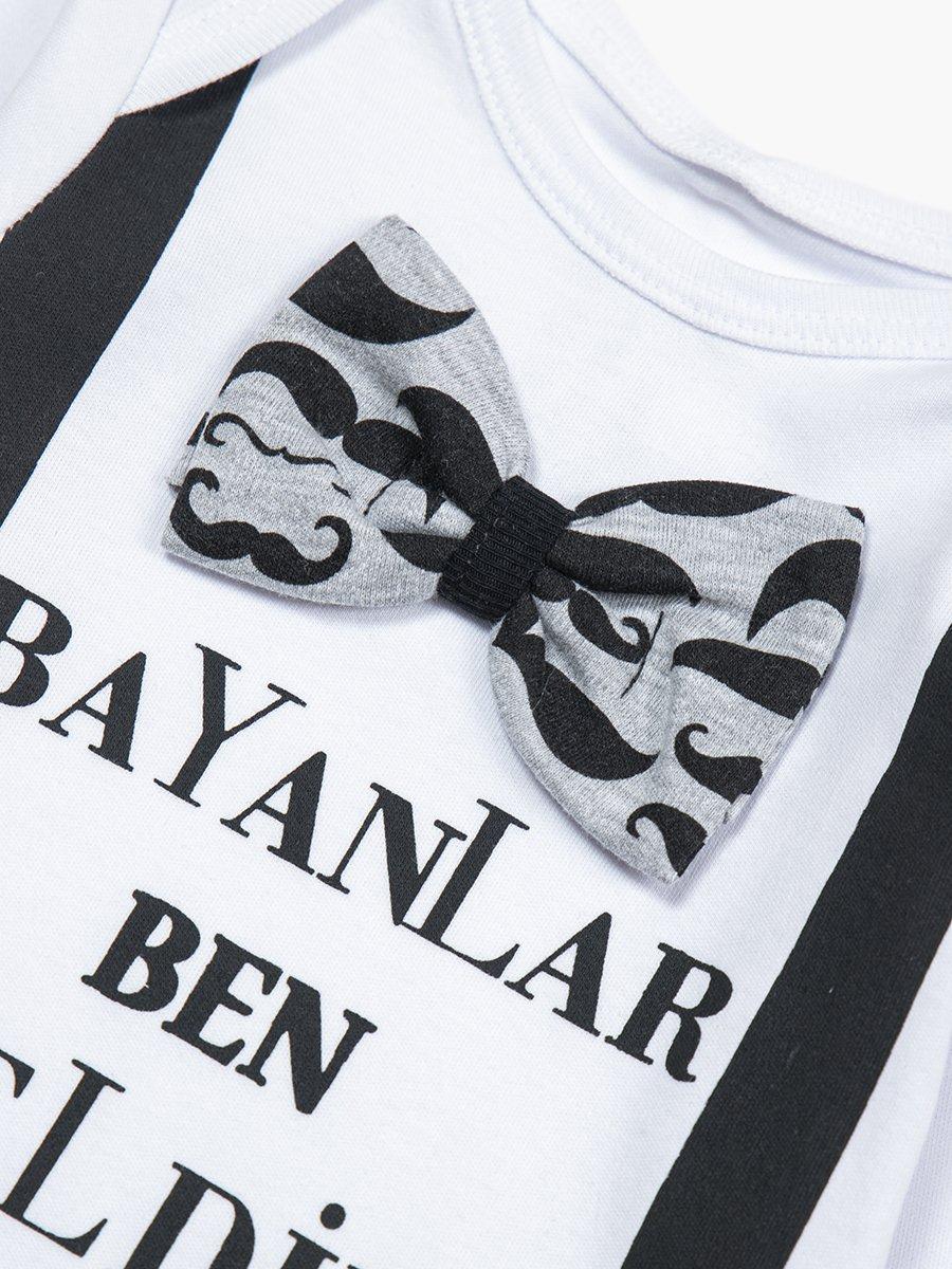 Комплект для мальчика: боди, ползунки и шапочка, цвет: белый