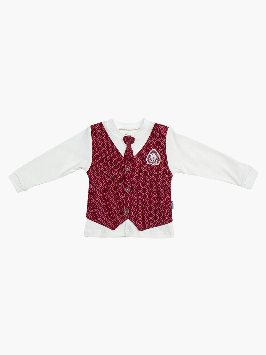 Комплект для мальчика: кофточка, штанишки и шапочка, цвет: бордовый