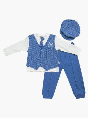 Комплект для мальчика: кофточка, штанишки и шапочка