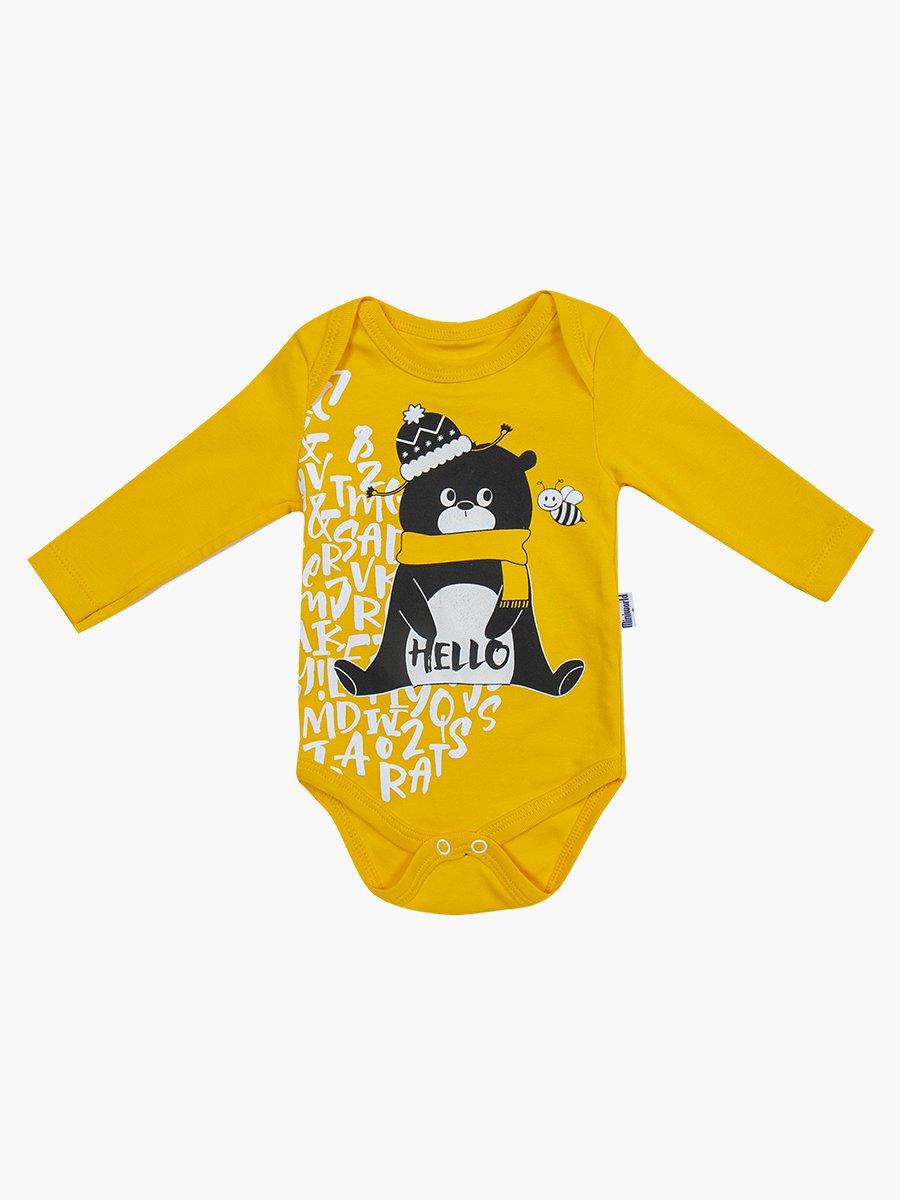 Комплект для мальчика: боди, ползунки и шапочка, цвет: желтый