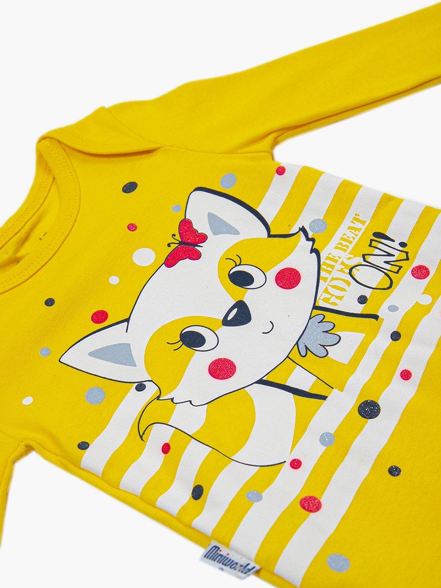 Комплект для девочки: боди, штанишки и шапочка, цвет: желтый
