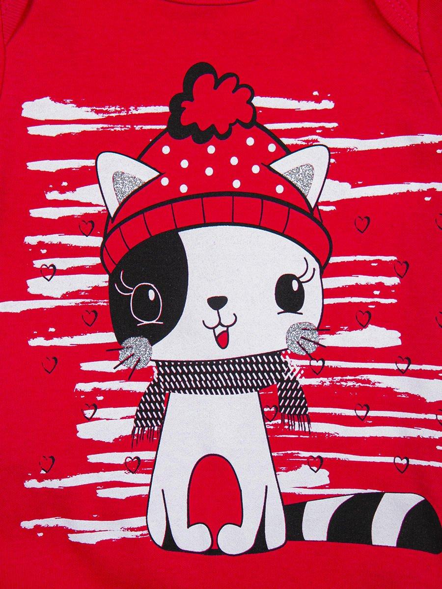Комплект для девочки: боди, штанишки и шапочка, цвет: малиновый