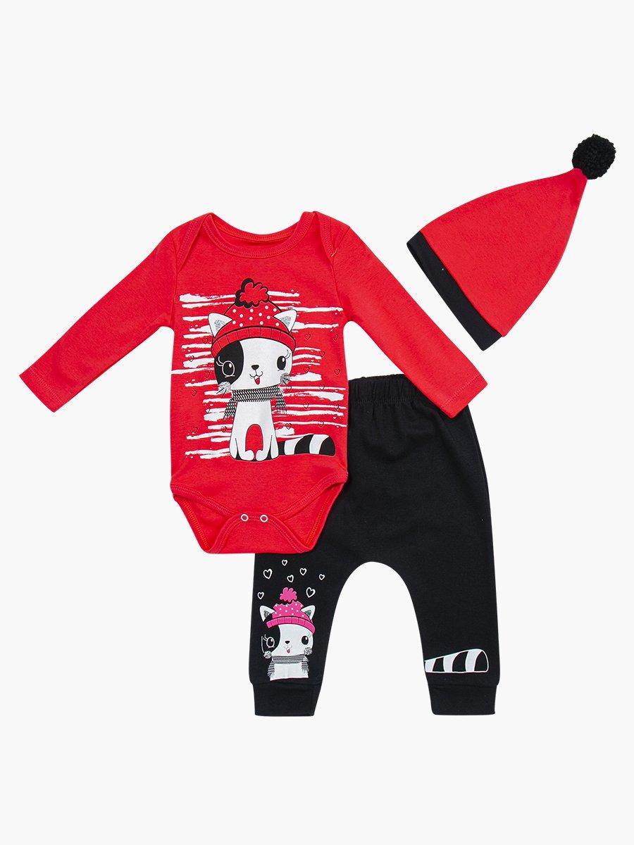 Комплект для девочки: боди, штанишки и шапочка, цвет: коралловый