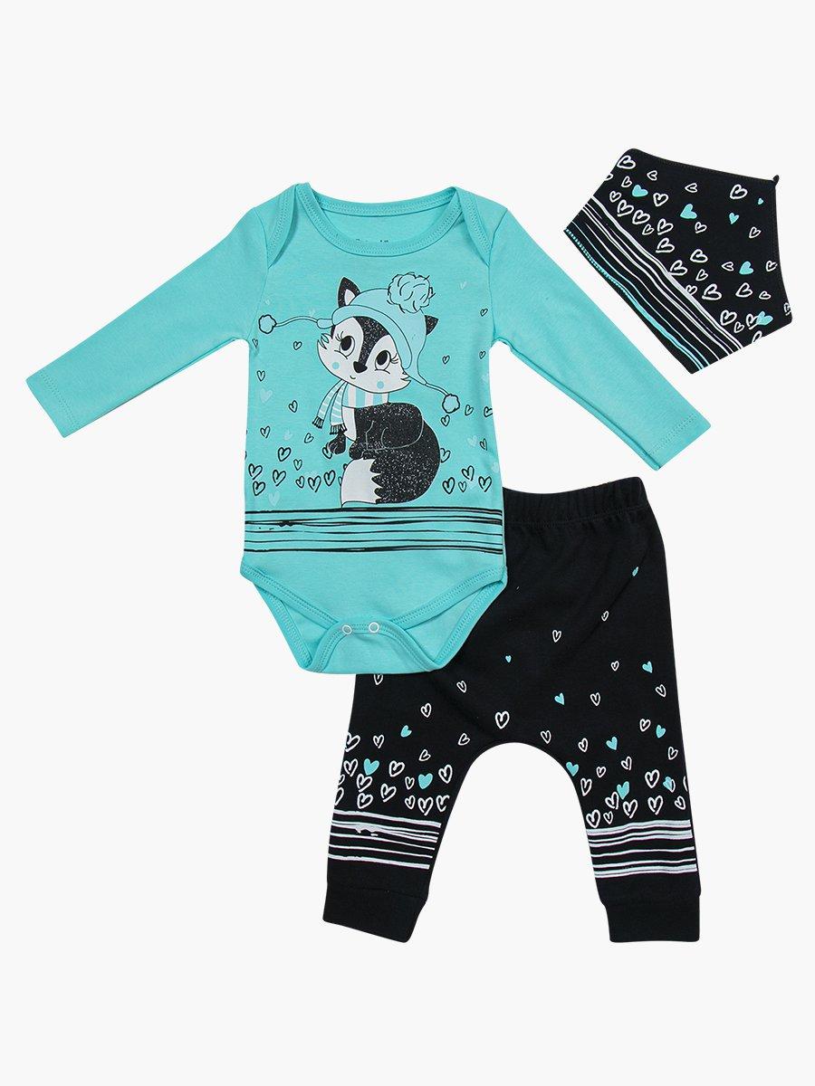 Комплект для девочки: боди, штанишки и бандана, цвет: мятный