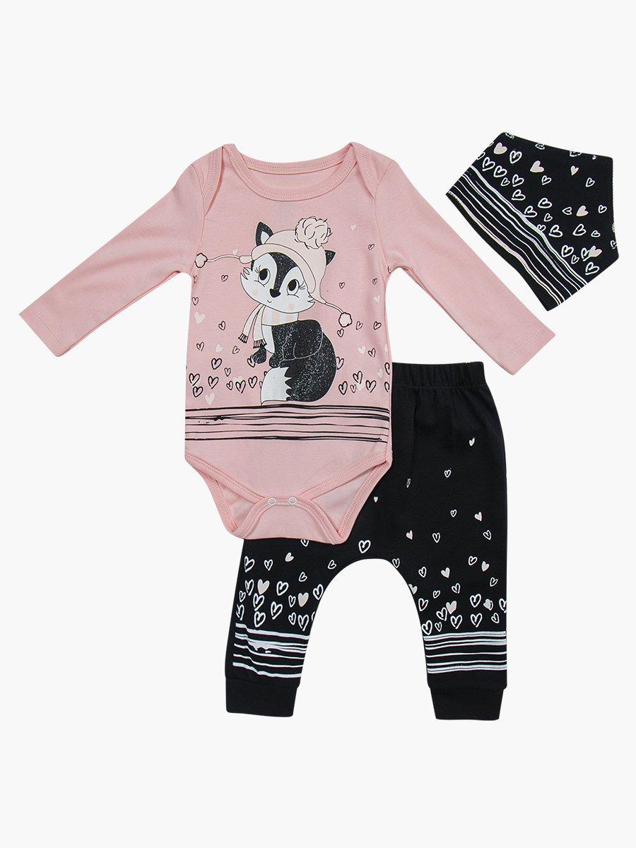Комплект для девочки: боди, штанишки и бандана, цвет: пудра
