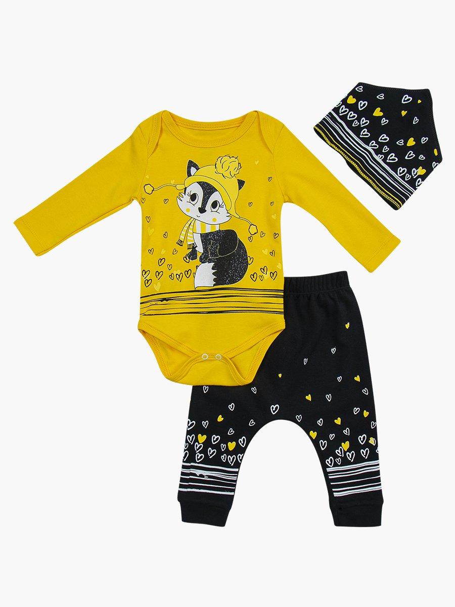 Комплект для девочки: боди, штанишки и бандана, цвет: желтый