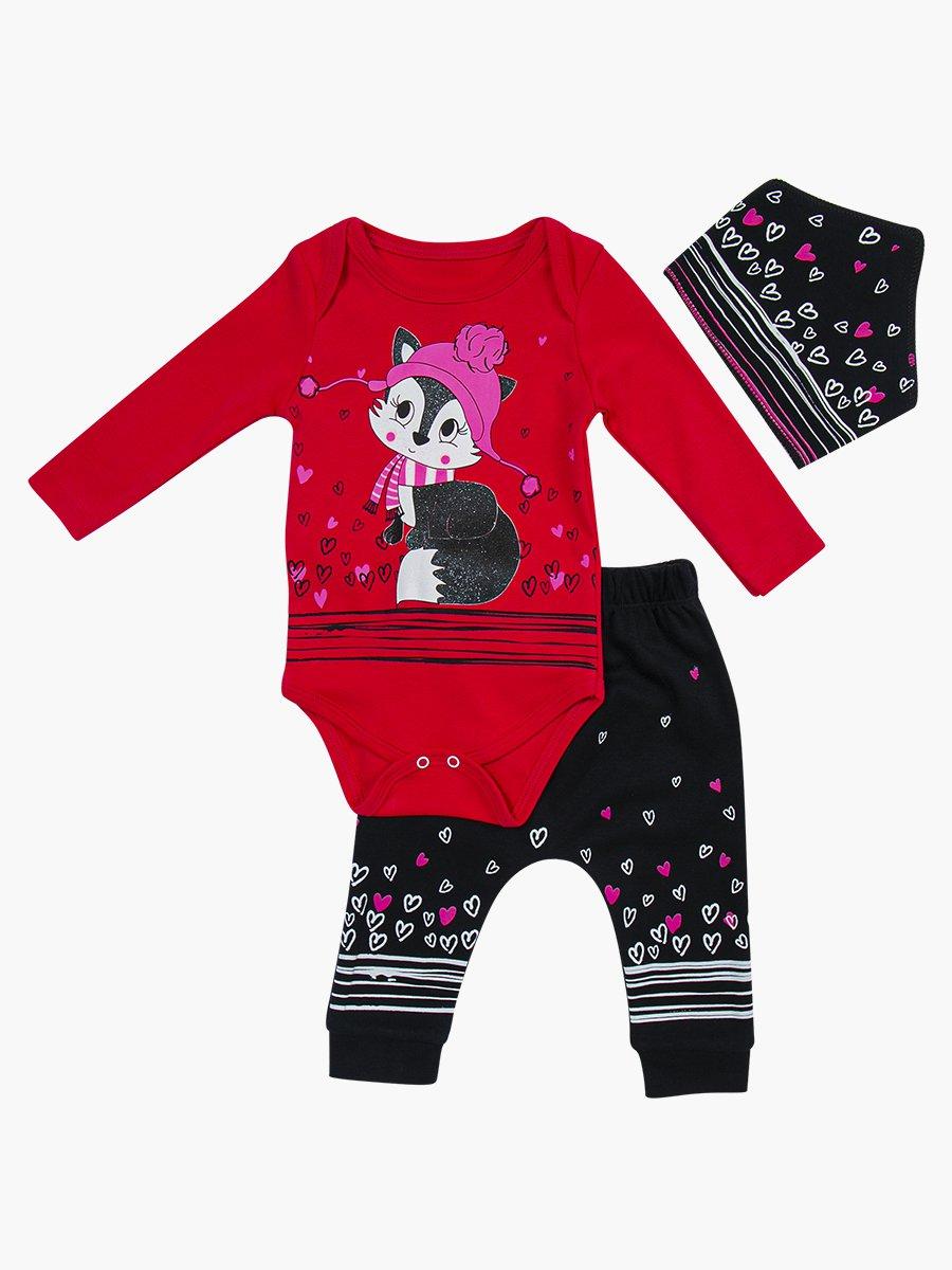 Комплект для девочки: боди, штанишки и бандана, цвет: малиновый