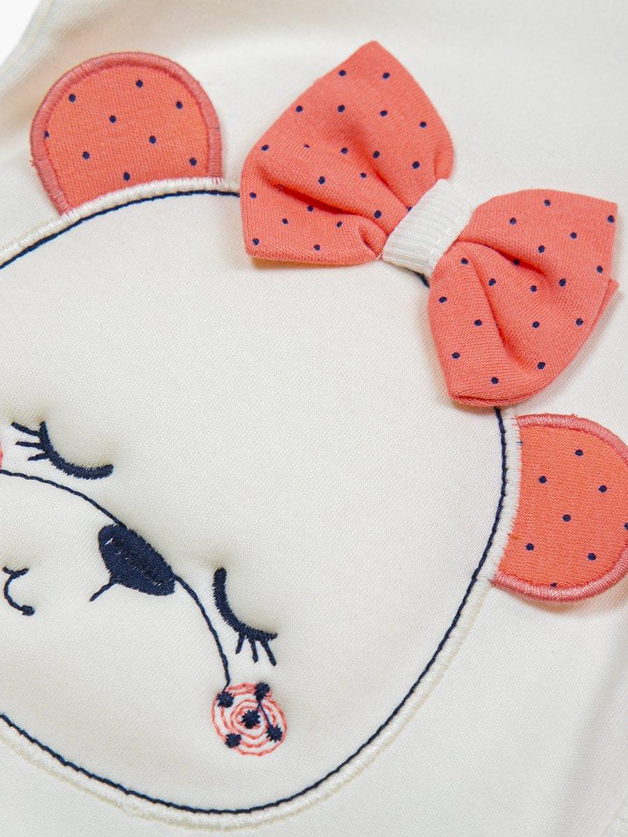 Комплект для девочки: распашонка, ползунки и шапочка, цвет: коралловый