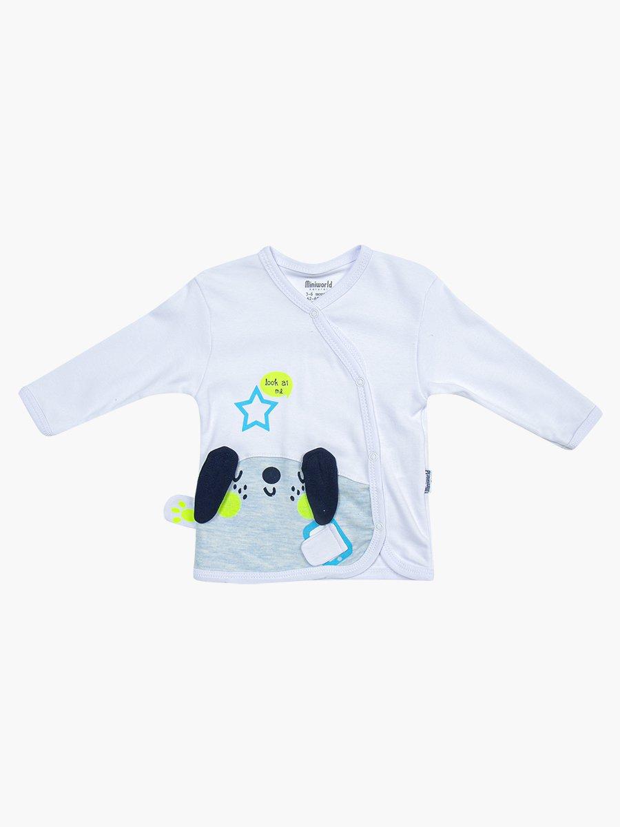Комплект для мальчика: распашонка, ползунки и шапочка, цвет: голубой