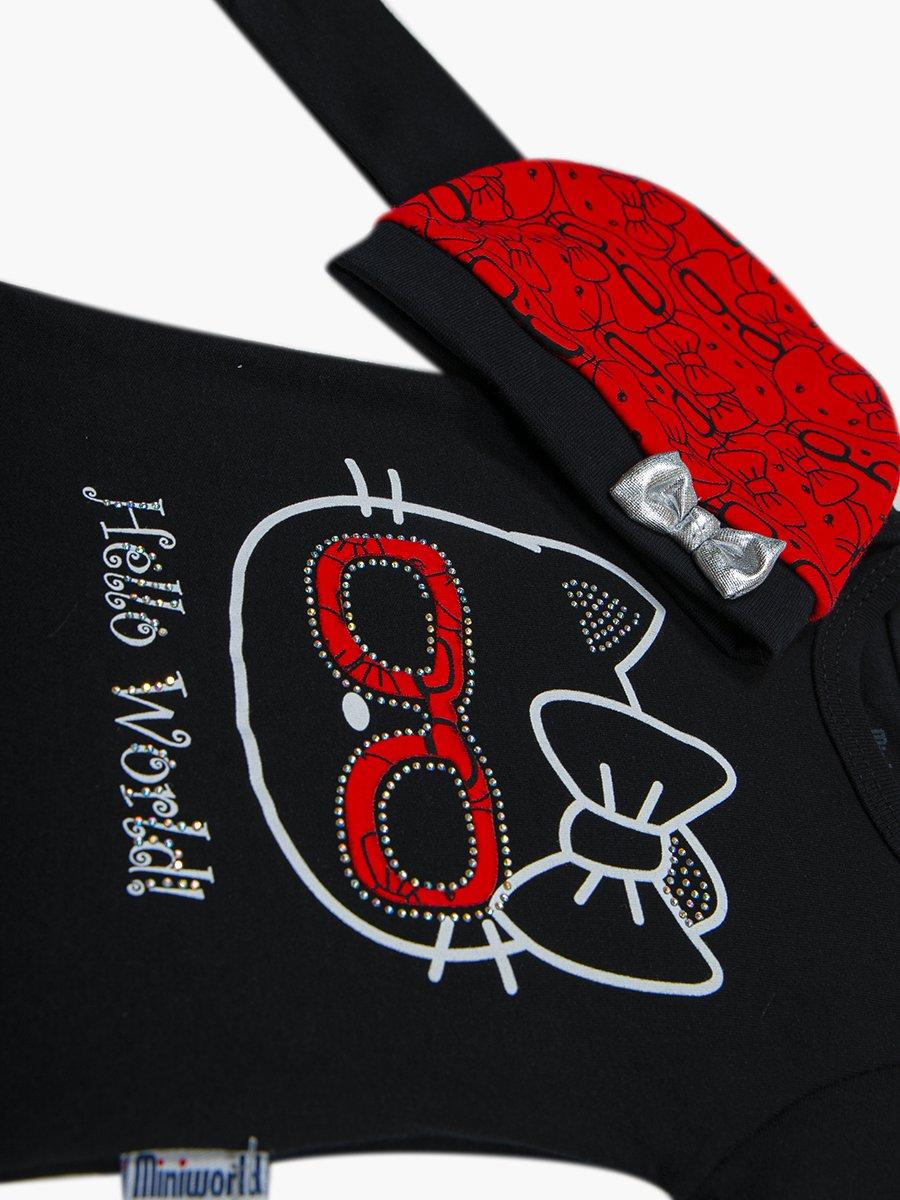 Комплект для девочки: боди, ползунки и шапочка, цвет: черный