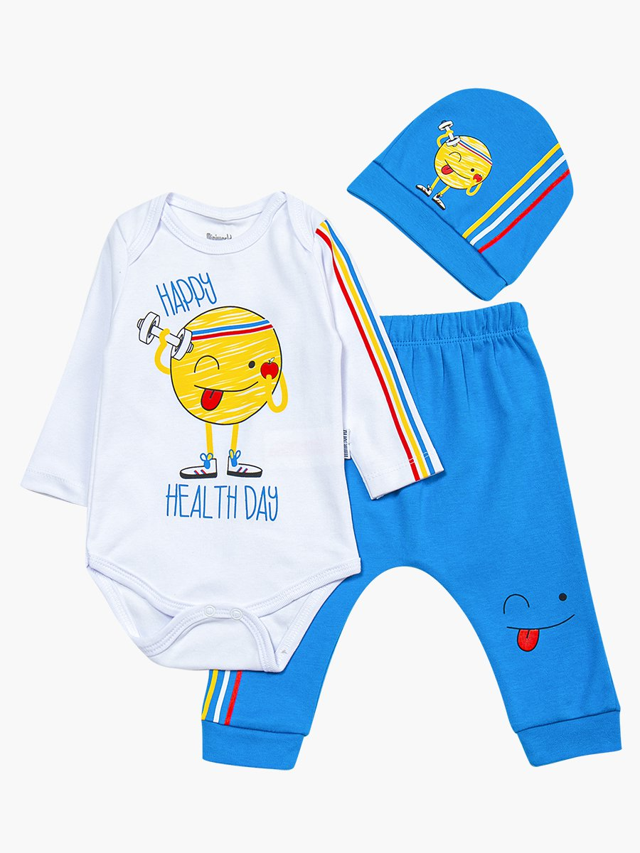 Комплект для мальчика: боди, ползунки и шапочка, цвет: голубой