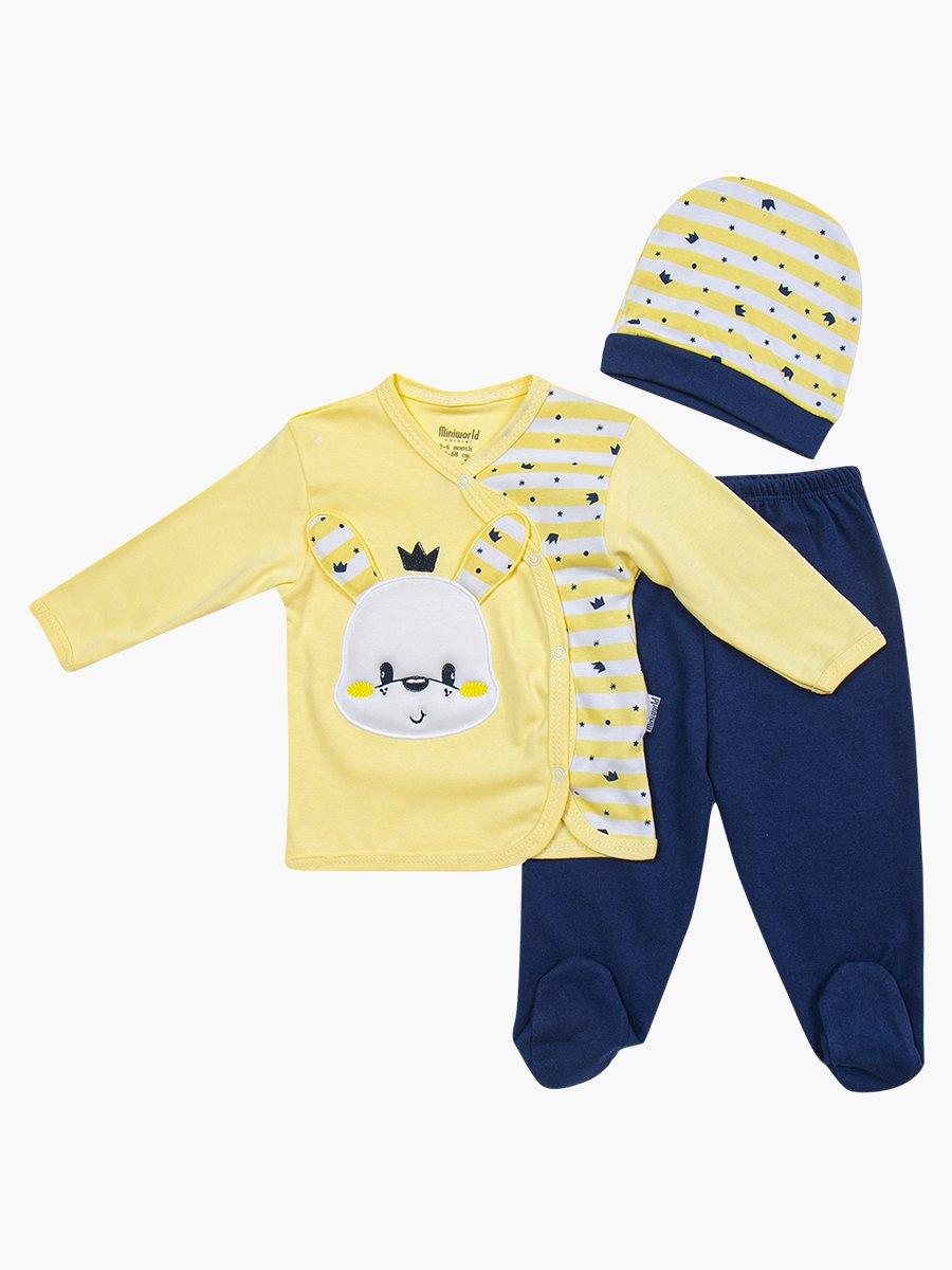 Комплект детский: кофточка, ползунки и шапочка, цвет: желтый