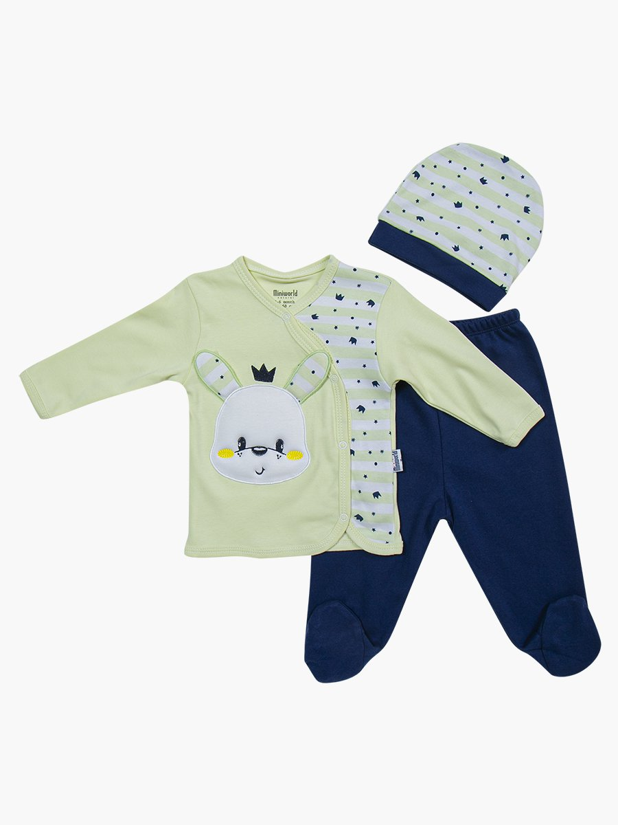 Комплект детский: кофточка, ползунки и шапочка, цвет: мятный