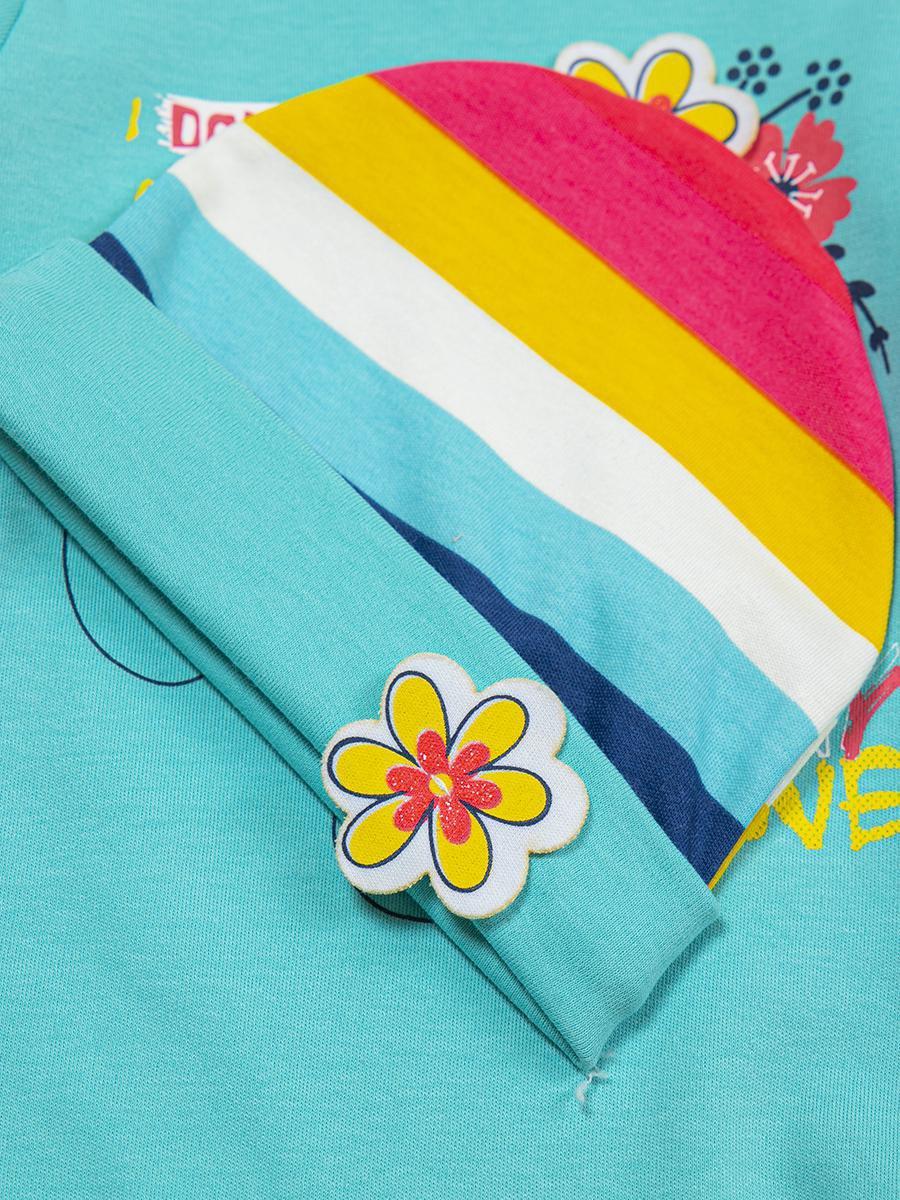 Комплект для девочки: боди, штанишки и шапочка, цвет: мятный