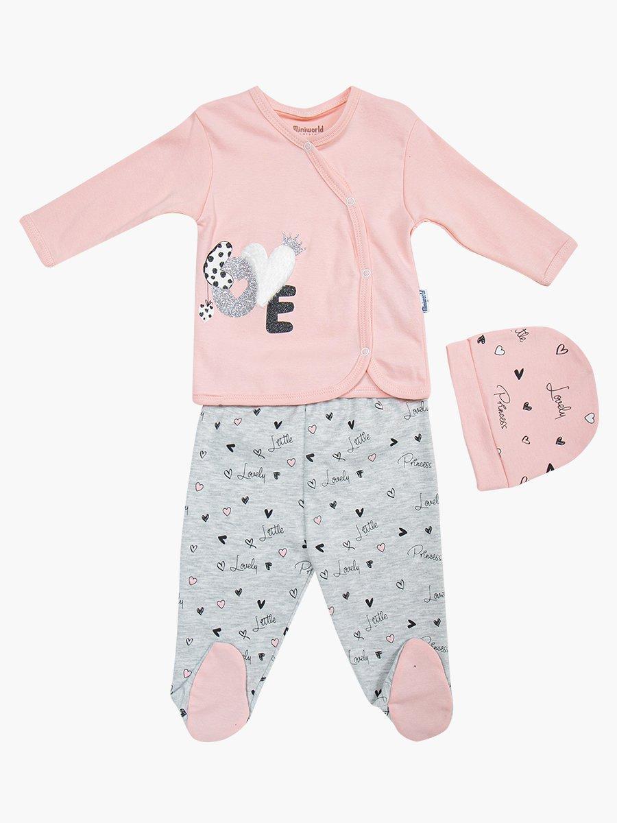 Комплект для девочки: распашонка, ползунки и шапочка, цвет: розовый