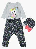 Комплект для девочки: боди, ползунки и шапочка