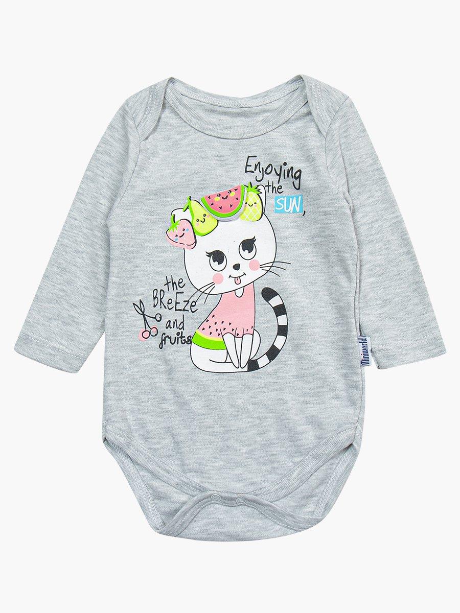 Комплект для девочки: боди, ползунки и шапочка, цвет: серый меланж