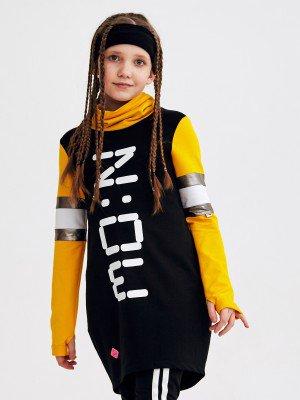 Платье О-образного силуэта с воротником труба для девочки