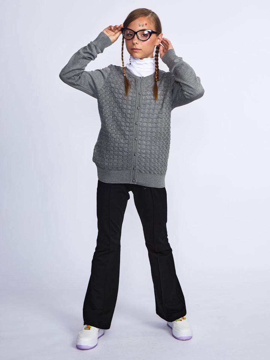 Кардиган вязаный для девочки, цвет: светло-серый