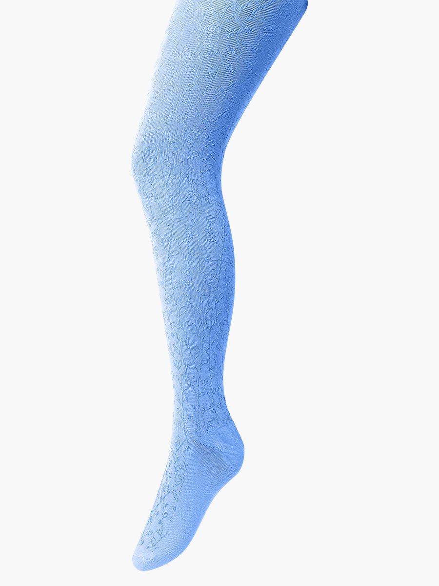 Колготки для девочки с ажурным рисунком по всей длине ножки, цвет: голубой