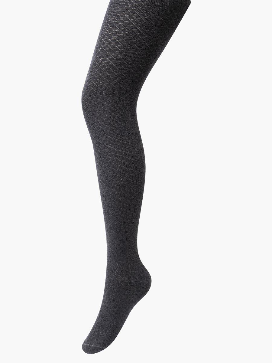 Колготки для девочки, с ажурным геометрическим рисунком, цвет: темно-серый
