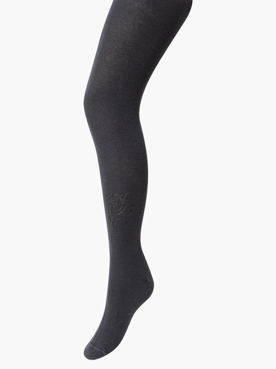 Колготки  для девочки школьного формата, с небольшим рисунком, цвет: темно-серый