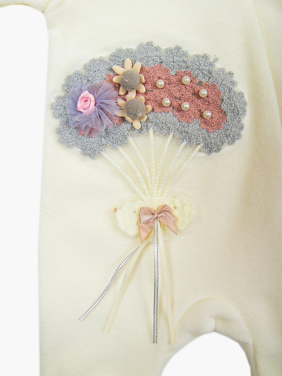 Комбинезон флисовый для девочки, цвет: молочный