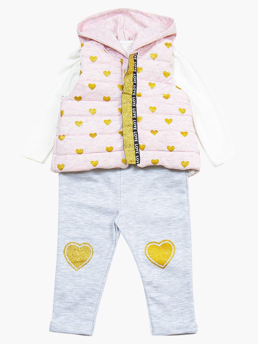 Комплект для девочки: лонгслив, лосины и жилет на синтепоне, цвет: розовый