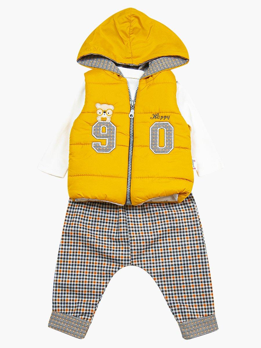 Комплект для мальчика: лонгслив, штанишки и болоньевый жилет на синтепоне, цвет: горчичный