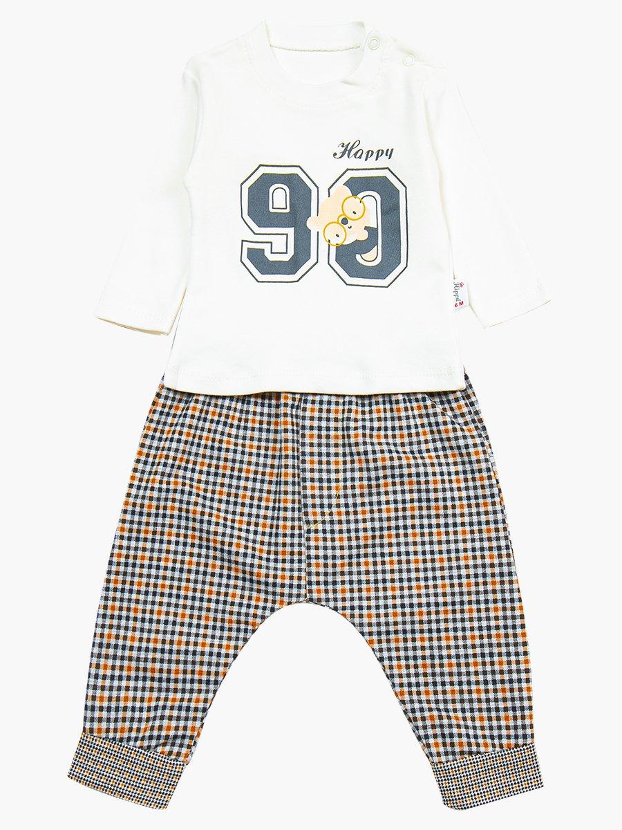 Комплект для мальчика: лонгслив, штанишки и болоньевый жилет на синтепоне