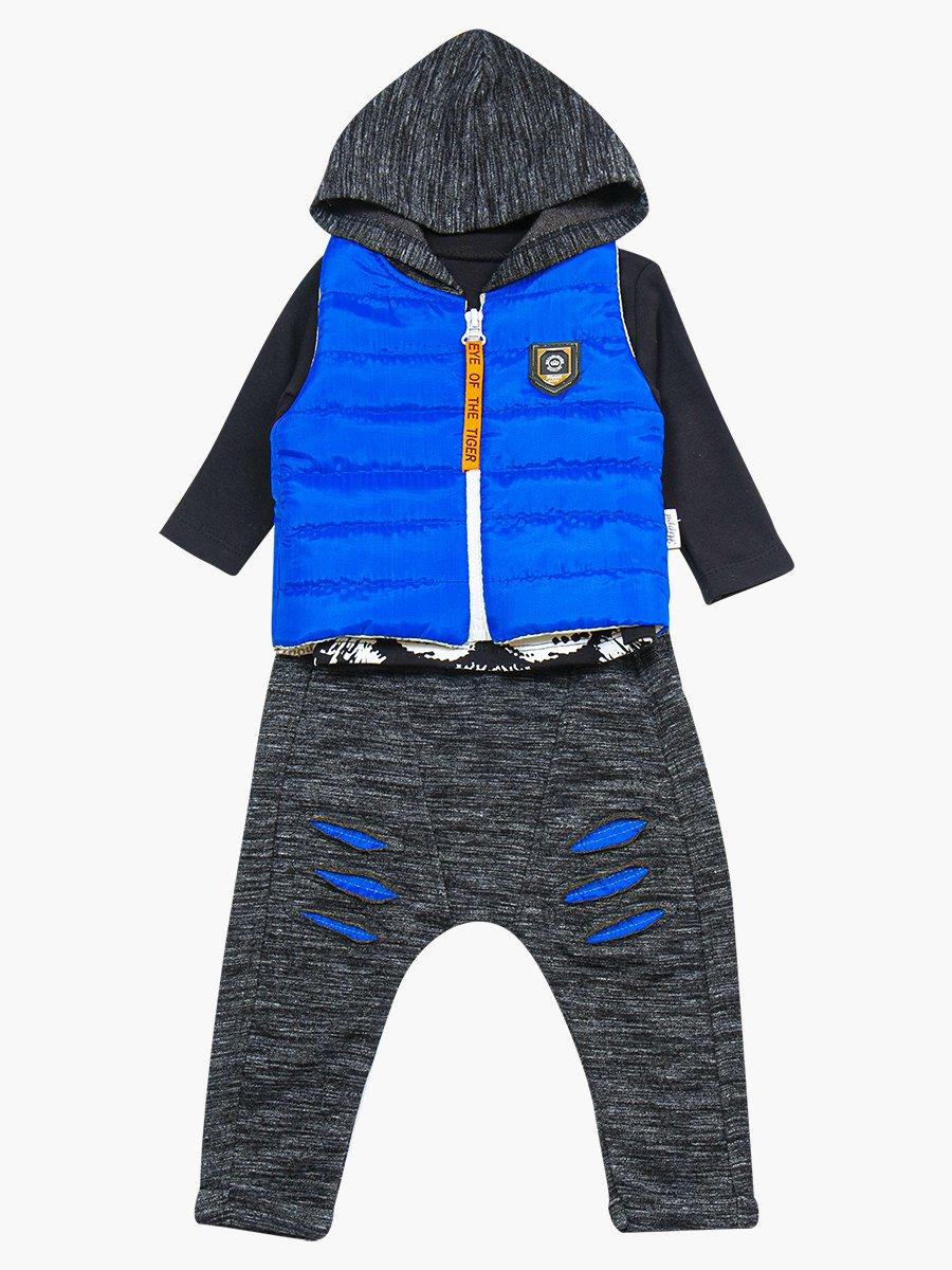 Комплект для мальчика: лонгслив, штанишки и болоньевый жилет на синтепоне, цвет: васильковый