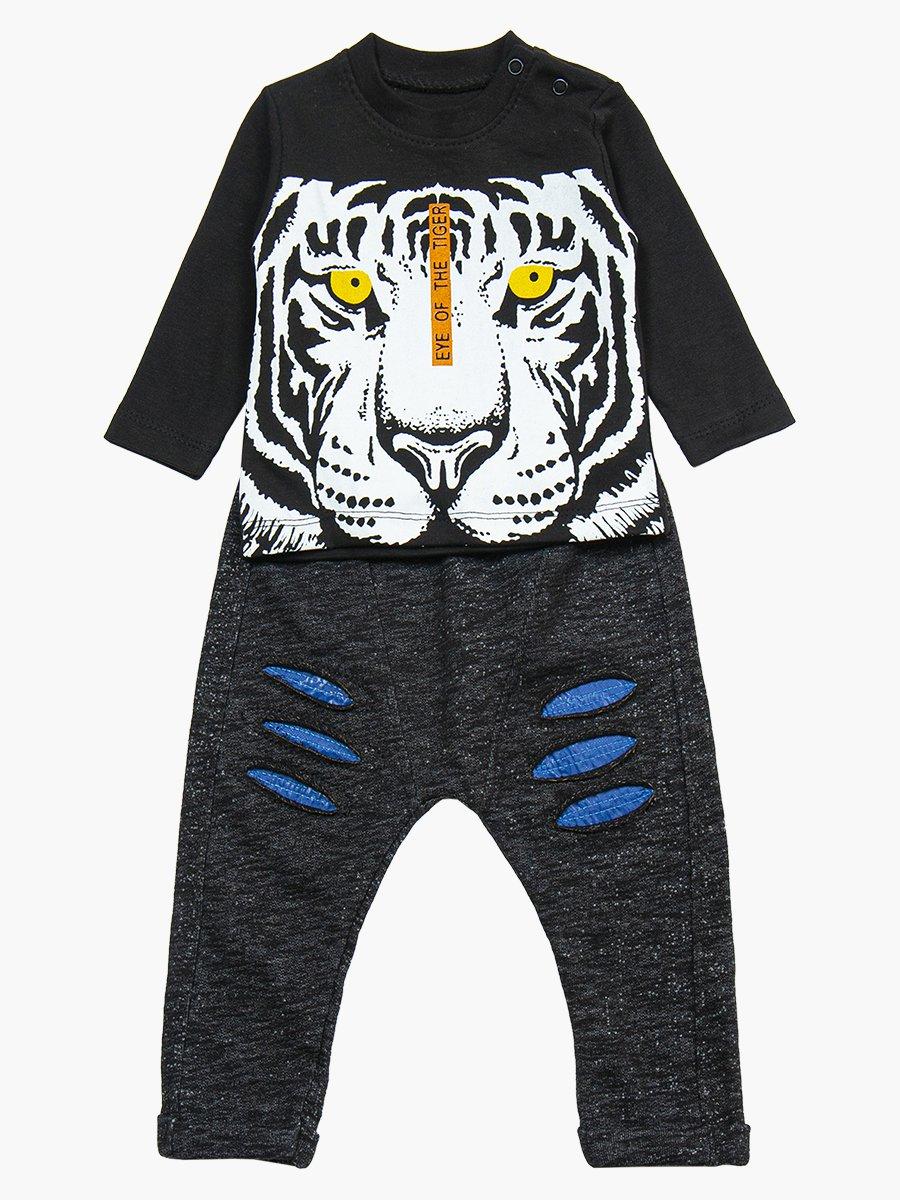 Комплект для мальчика: лонгслив, штанишки и болоньевый жилет на синтепоне, цвет: деним