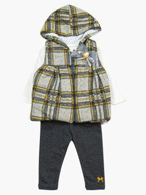 Комплект для девочки: лонгслив, лосины и жилет на синтепоне