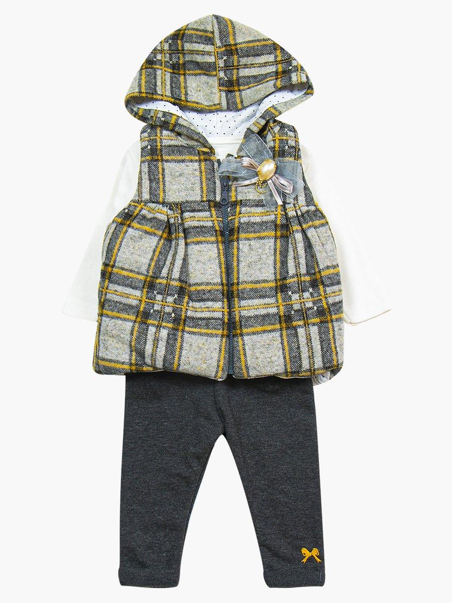 Комплект для девочки: лонгслив, лосины и жилет на синтепоне, цвет: серый