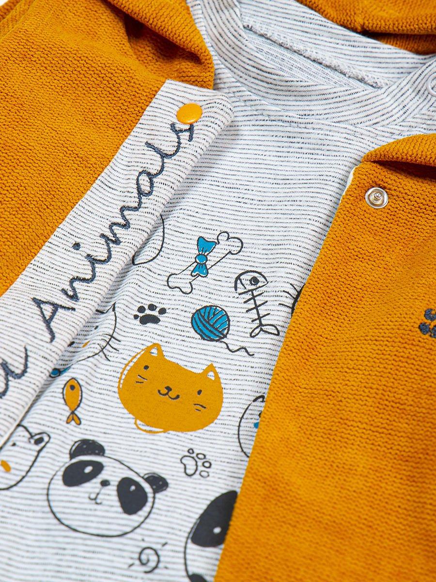 Комплект для девочки: лонгслив, штанишки и жакет, цвет: горчичный