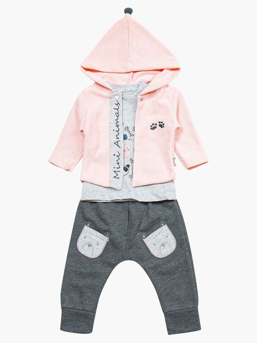 Комплект для девочки: лонгслив, штанишки и жакет, цвет: светло-розовый